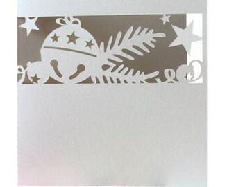Christmas Card , Blank inside , Bells , Stars , PaperCut , Holidays , December , New Year