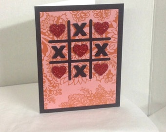 Tic Tac Toe Valentines Day Card , blank , Free confetti , spouse , men , women , hearts , red , Sparkles