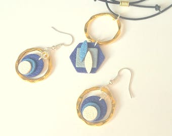 Adornment trend 2 parts geometry leather genuine blue and white tones anniversary minimalist
