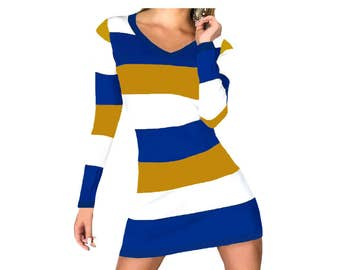 Blue or Navy + Gold Stripe Spirit Dress