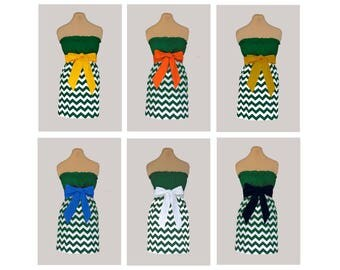 Pack of 6 Green Chevron Dresses - Any Combination of Sash Colors