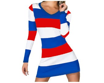 Red + Blue Spirit Stripe Dress
