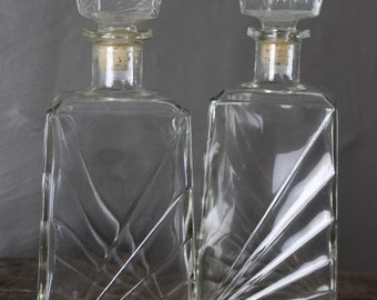 Pair Retro Glass Decanters
