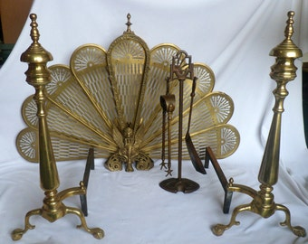 Vintage Fireplace Set w/Brass Andirons, Brass Fireplace Screen, and Tools with Stand