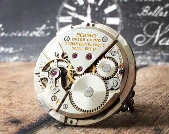 Bulova Watch, Steampunk Ring, Watch Part Ring, Gunmetal Ring, Steampunk Jewelry, Bulova Watch, Bulova, Gunmetal Ring, Watch Gear Ring