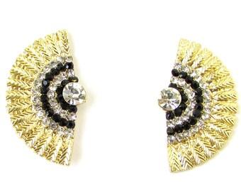 Black Gold Silver Art Deco Earrings 1920s Vintage Flapper Great Gatsby 40s 1068