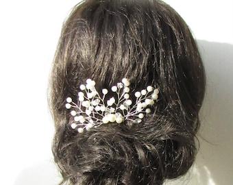 Ivory Silver Diamante Pearl Bridal Vine Hair Comb Wedding Headpiece Bead 1711