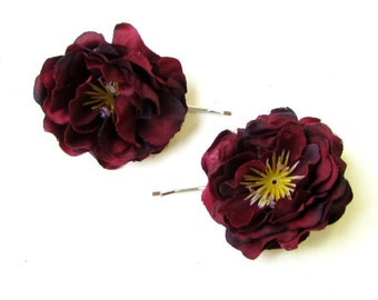2 x Burgundy Deep Red Flower Hair Grips Clips Bridesmaid Bobby Pins Slides 1773