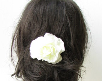 Ivory Cream Camellia Flower Hair Comb Bridesmaid Floral Rockabilly Rose Vtg 1940