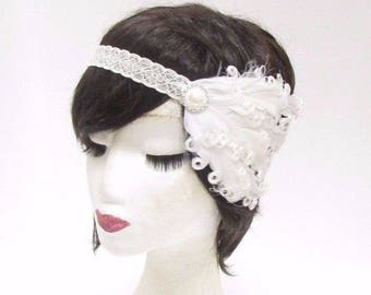 White Ivory Lace Feather Headband 1920s Flapper Headpiece Great Gatsby Vtg 2802