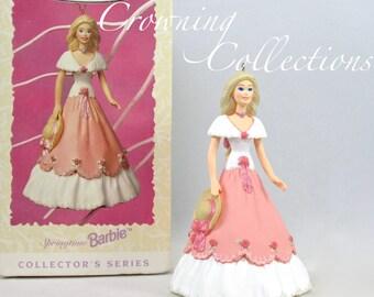 1997 Hallmark Springtime Barbie Keepsake Ornament Spring Easter Series Bonnet Pink Dress Vintage Doll