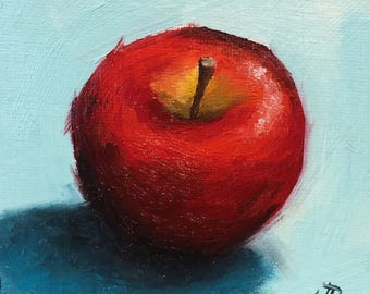 Little red Apple, Original Oil Painting still life by Jane Palmer
