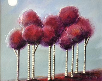 Nine Trees mounted acrylic painting folkart collage by Jane Palmer