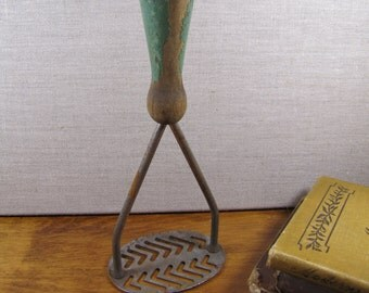 Vintage Green Painted Wooden Handle Potato Masher