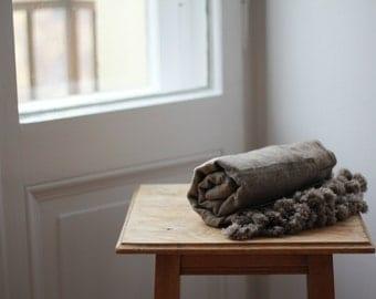 Brown pom pom 100% Cashmere scarf