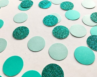 """1,000 Pieces of 1"""" Turquoise Glitter & Mint Ombré Circle Confetti"""