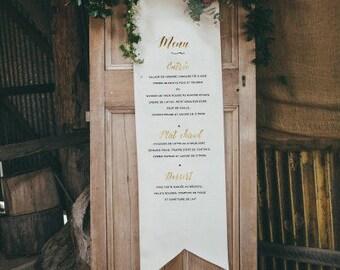 menu fabric wedding