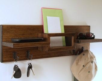 Mail Organizer-Key Rack-Coat Rack- Hat Rack-Double Shelf-Espresso Finish