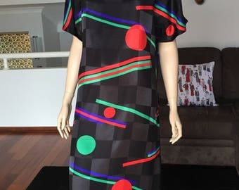 Stunning 80s Geometric Design Shift Dress