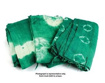 "Handspun Green Mudcloth Fabric African Mali Mud Cloth Handwoven 63""x45"""