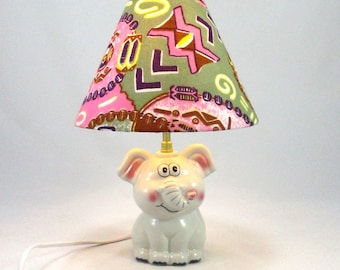 Lamp child bedside Lampshade wax violet @Rêve gray, pink, white earthenware elephant lamps