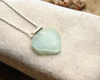 Large Sea Glass Pendant, Aqua Seaglass Necklace, Seaglass Necklace Light Blue, English Sea Glass Jewellery, Heart Necklace, Birthday Gifts