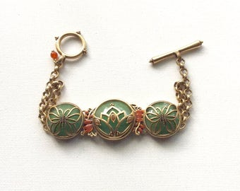 Retro Olive Green Linked Filigree Bracelet with Rust Color Embellishment