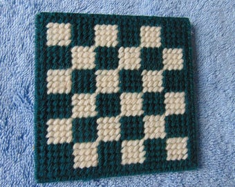 Needlepoint Drink Coasters, Set of 4, Hunter Green and Off White Checkered pattern, protect your tabletops with chic decore