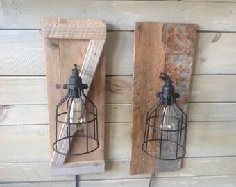 Wood Light Cage Sconce with Edison Bulb, Barn Wood, Farm House
