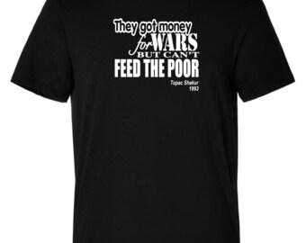 Men's Tupac Money For Wars T/Shirt 2Pac T/Shirt Urban Hip Hop Crew Neck Fashion Tees Shirt Custom Made Customise S-5XL Gym Top