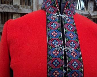 Vintage 1980's Red Embroidered Danico Icelandic 100% Boiled Wool Jacket / Coat / Blazer