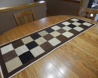 Brown and tan table runner, large table runner, Fall table runner, Brown dresser scarf, Brown bed runner, Autumn table runner Item #351