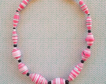 Pink and Black Necklace, Paper Necklace, Paper Necklace and Black Crystal, Pink and Black