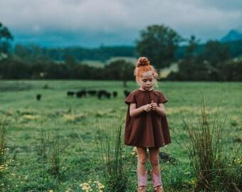 Chocolate linen retro mini dress