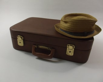 vintage 1950s suitcase, brown case