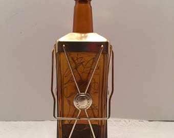 Musical Decanter ~ Liquor Decanter ~ Amber & Gold ~ Japan ~ Antique Lantern ~ Man cave ~ Shabby Chic ~ Vintage