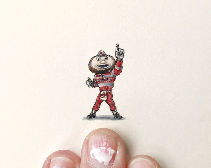 """Print of miniature painting of Brutus The OSU Mascot. 1 1/4"""" x 1 1/4"""" print of original BRUTUS painting on 5"""" square german etching paper"""