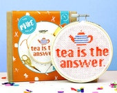 Cross stitch kit, gifts for her, funny cross stitch, gifts, gifts for tea lover, galentines day, stitch pattern, starter kit, home decor