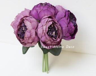 JennysFloweShop 11'' Silk Peony Artificial Flower Bouquet Wedding/Home Decorations (7 Stems/7 Flower Heads) Purple