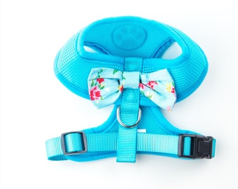 Blue Vintage Floral Puppy Dog Harness