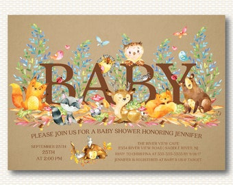 Woodland Baby Shower Invitation, Woodland, Forest, Kraft, Animals, Baby Shower, Gender Neutral, Boy, Girl, Digital Printable Invitation