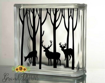 Winter deer decal - Christmas decals for glass blocks - vinyl decals for Christmas - DIY Christmas crafts to make - SOPH02
