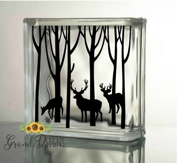 Winter Deer Decal Christmas Decals For Glass Blocks Vinyl - How to make vinyl decals for glass blocks