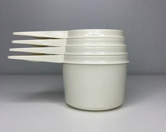 vintage set of nesting white Tupperware measuring cups 3/4 2/3 1/2 1/3