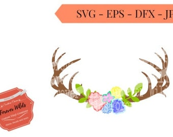 floral Antler SVG - Deer Antler Monogram SVG - Southern Monogram - floral svg - svg files - cricut files -silhouette files - cutting files