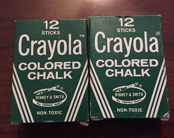 Lot of Two Vintage 12 Sticks Crayola Colored Chalk Boxes