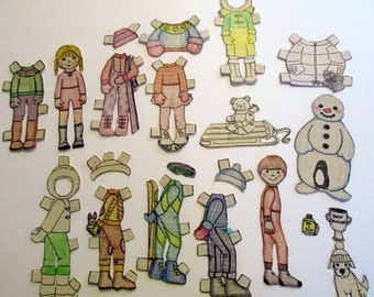 Vintage Newspaper Cut outs of Paper Dolls  for Scrapbooking, Journaling, Paper Embellishment, Craft Supplies ,assorted shapes