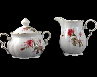 Sugar Bowl and Creamer, Royal Sealy, Moss Rose Pattern, Rose Floral, Gold Trim