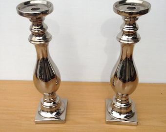 Pair of candle holders ceramic chrome Deco 2 x 39 cm height