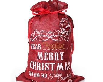 Personalised Red Jute Merry Christmas Santa Sack